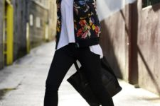 12 black cuffed jeans, a white top, turquoise moccasins and a black floral blazer