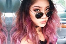 12 black hair with pink ombre scrams pink sapphire