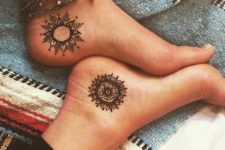 12 different mandala tattoos on both feet