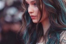12 natural chestnut hair with teal locks looks cute