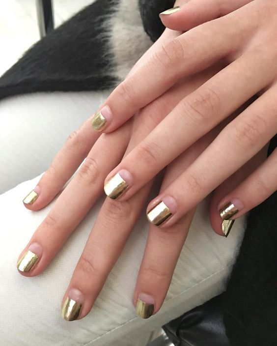 negative space and gold foil nails are great for a party