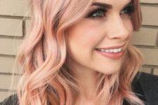 12 peachy shade of blorange hair, medium length and light waves