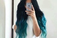 13 black hair with a teal ombre effect