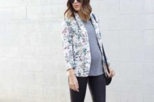 13 black leather pants, a gree tee, a floral blazer and black flats