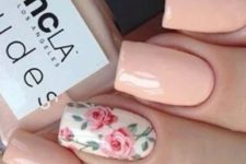 13 peachy nails with one accent pink roses nail