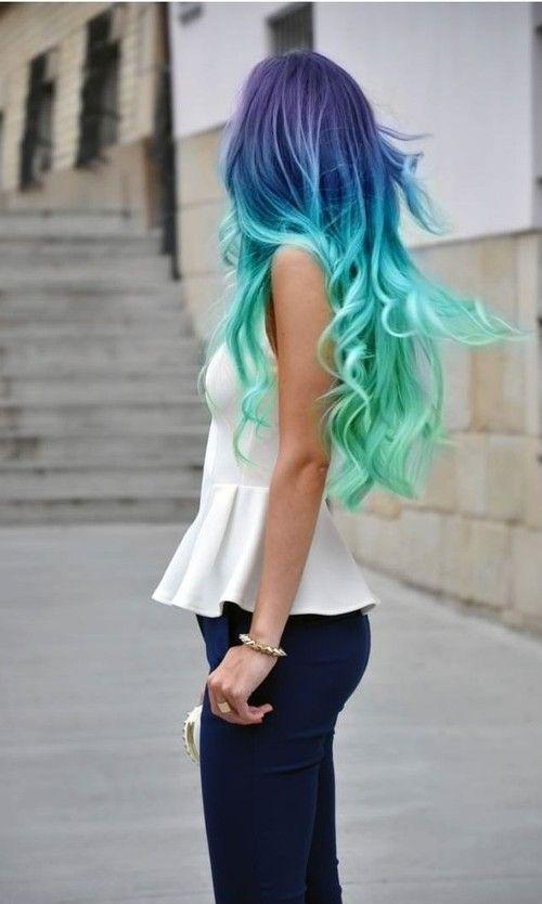 blue to neon green hair balayage