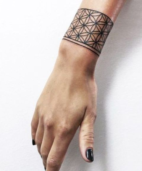 Wrist Cuff Tattoo Designs: Picture Of Chic And Modern Wrist Band Looks Like A Statement