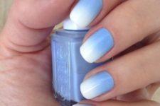 14 lavender blue ombre nails into white
