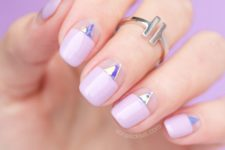 14 negative space and mirror triangles plus lavender color blocking nails