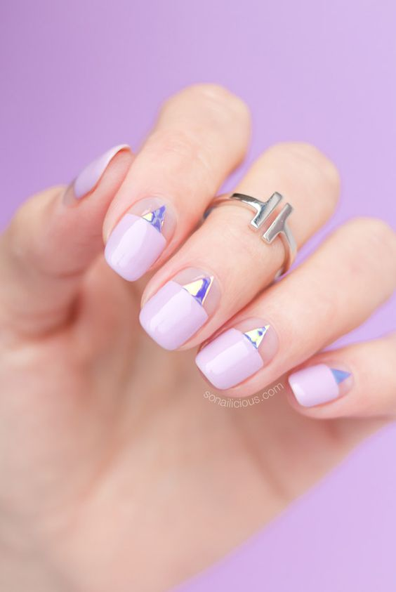 negative space and mirror triangles plus lavender color blocking nails