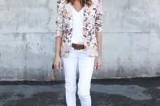 14 white pants, a white top, a delicate floral blazer and nude heels