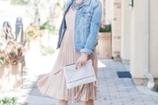 15 a blush pleated dress, a chambray jacket and nude heels