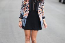 15 a little black dress, a floral blazer and nude heels