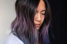 15 black hair with pink and navy balayage