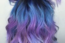 15 blue to purple ombre hair with light waves