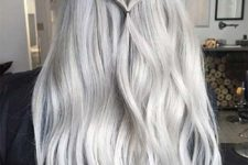 15 long blonde grey hair with light waves