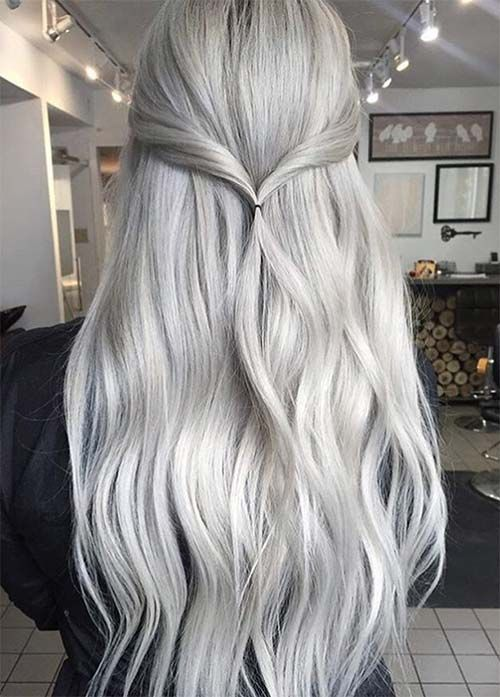 long blonde grey hair with light waves