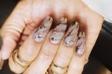 15 nude marble nails with gold accents