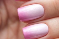 15 pink ombre nails from bold pink into very light blush