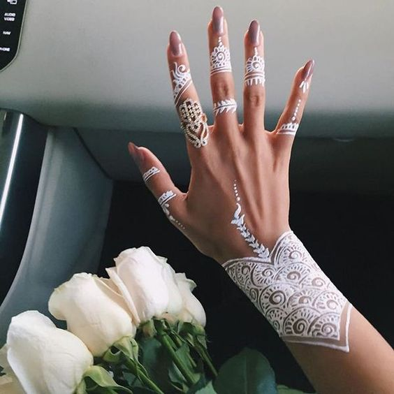 unusual henna tattoo on the wrist and every finger