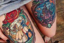 16 bold Disney themed leg tattoos on each leg