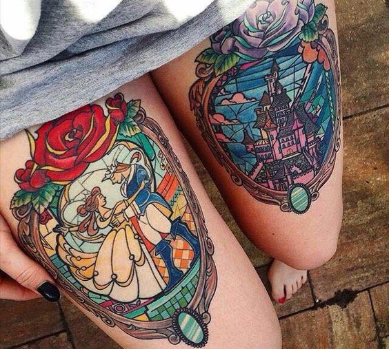 bold Disney themed leg tattoos on each leg