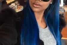 16 bold blue long straight hair
