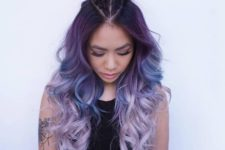 16 dark purple to light lavender ombre hair