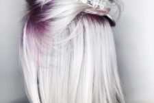 16 icy blonde hair with purple roots will catch everybody's eye