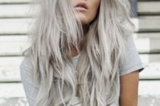 16 long blonde grey hair with waves and a cool hair cut