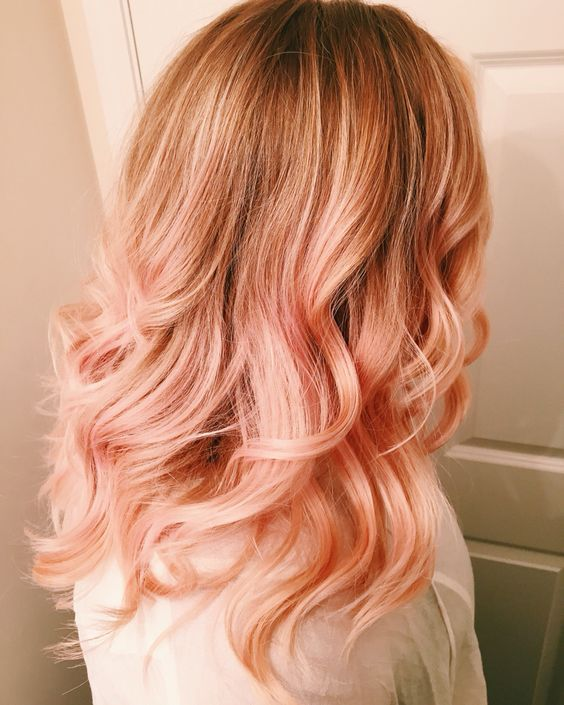 natural reddish hair with blorange balayage