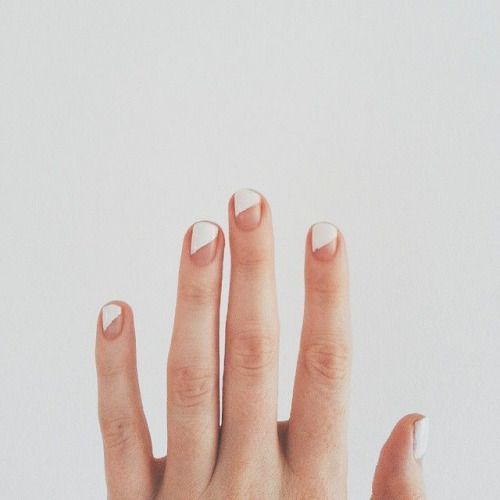 negative space and white color block nails