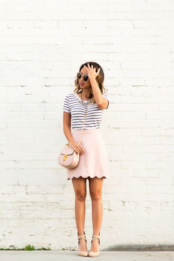a striped t-shirt, a blush scalloped hem mini skirt and nude lace up heels