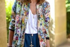 17 a white top, a navy mini and a bold floral blazer