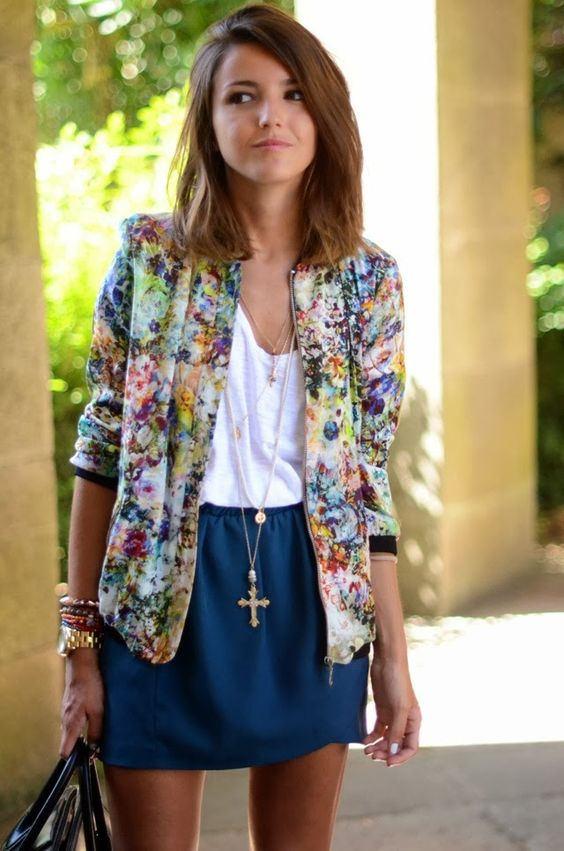 a white top, a navy mini and a bold floral blazer