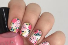 17 colorful pink and green floral manicure