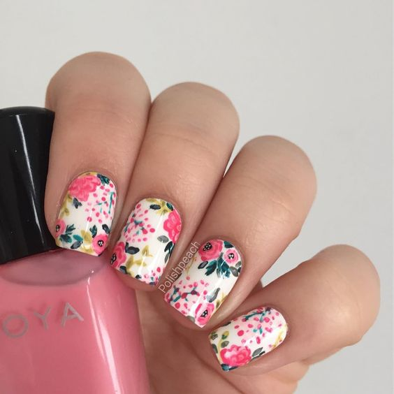 colorful pink and green floral manicure