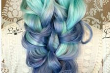 17 green-blue-purple ombre hair shows the traditional sea colors