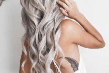 17 long silver blonde locks look very feminine and soft