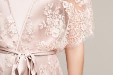 18 a blush slik night gown and a lace kimono over it