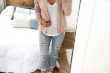 18 a white tee, distressed denim, a blush bomber and white sneakers