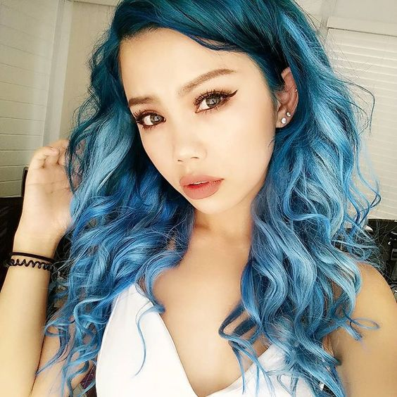 ombre coloring with a darker blue base