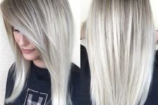 18 ombre hair from darker roots to icy blonde