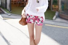 18 pink floral shorts, a nude top, a white crochet top over it and sandals