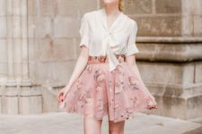 19 an ivory blouse, a blush floral skirt, nude flats