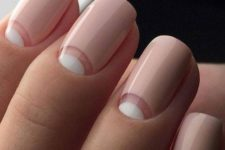 19 half moon French nails with a negative space