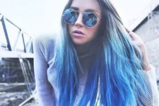 19 ombre hair from natural chestnut to bold blue