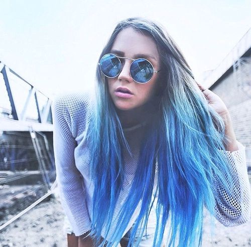ombre hair from natural chestnut to bold blue