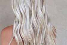 19 pearl and icy blonde long wavy hair
