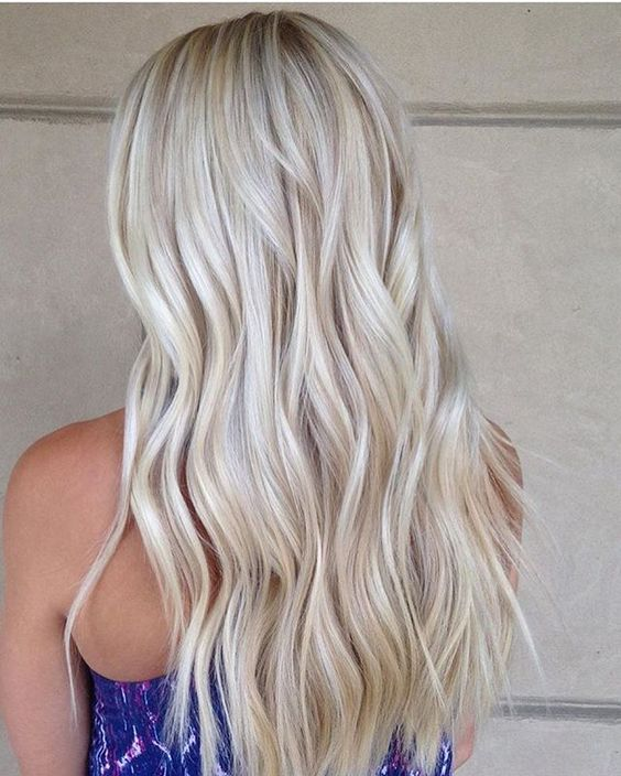 Picture Of Pearl And Icy Blonde Long Wavy Hair